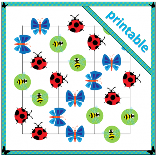 printable 9 square insect-themed puzzle