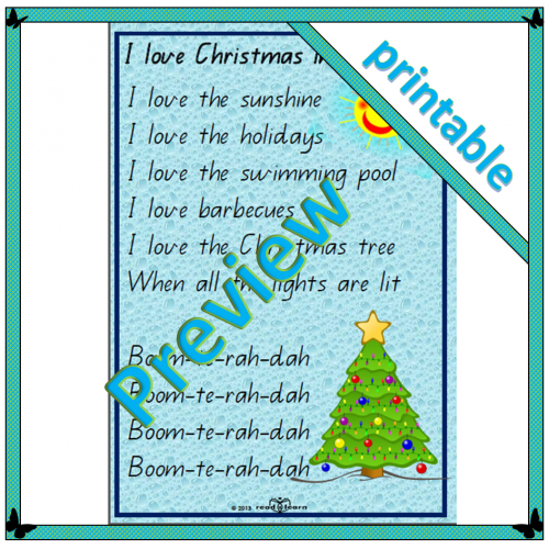 Poem: I love Christmas in Australia