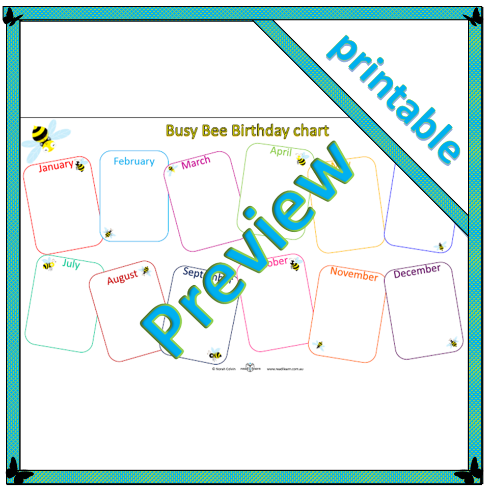 picture relating to Birthday Chart Printable called Occupied Bee Birthday chart