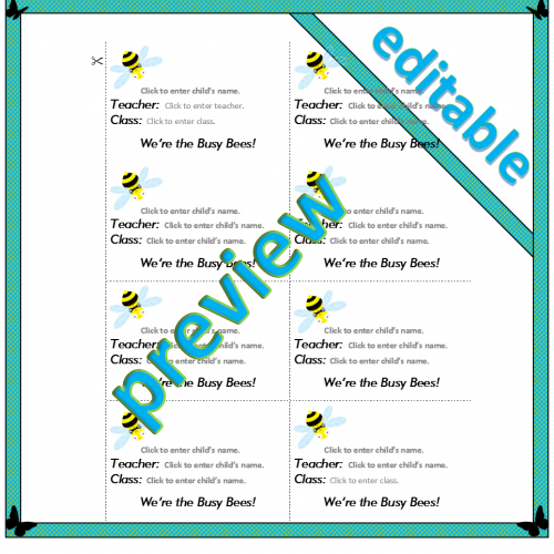 Busy Bee Name badge template