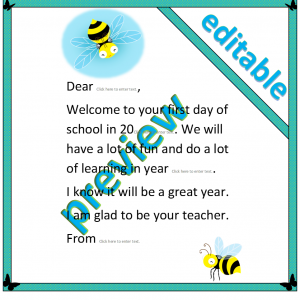 Busy bee welcome letter template - editable