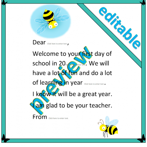 Busy Bee Welcome letter template