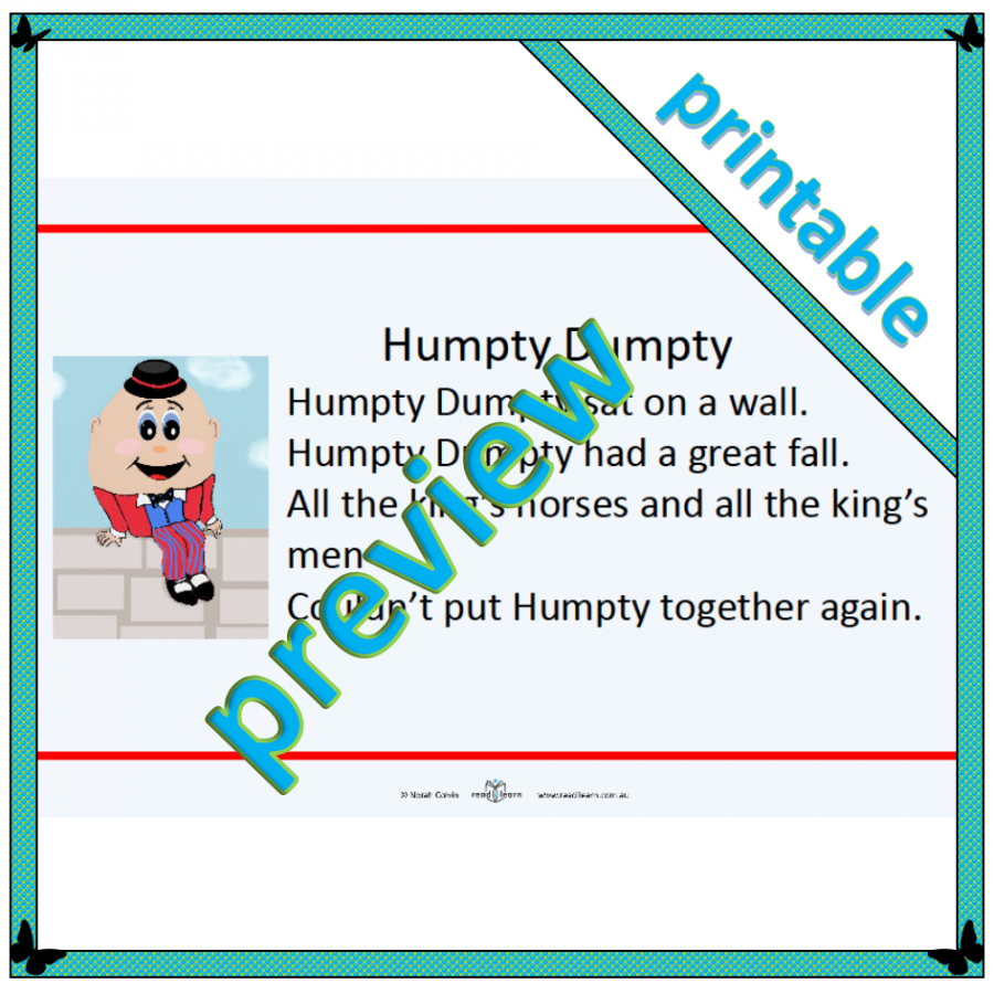 Humpty Dumpty the nursery rhyme - printable