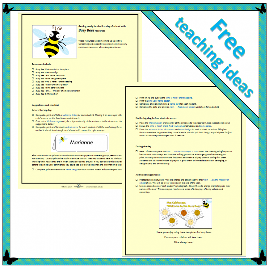 getting ready for the first day - free teaching ideas