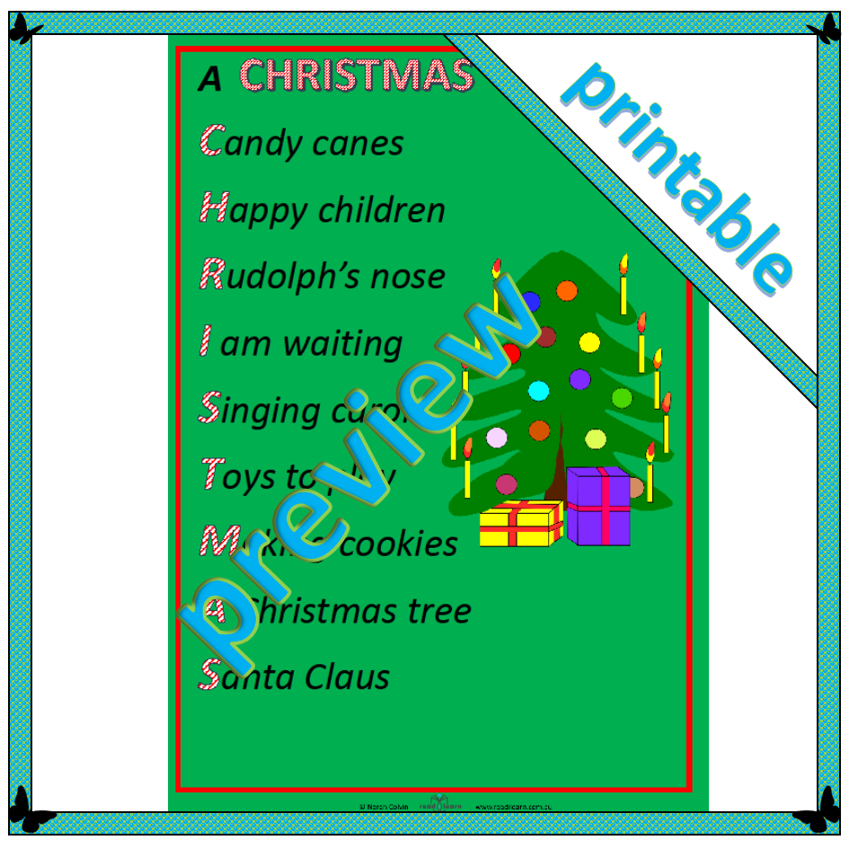 Poem A Christmas Acrostic Readilearn