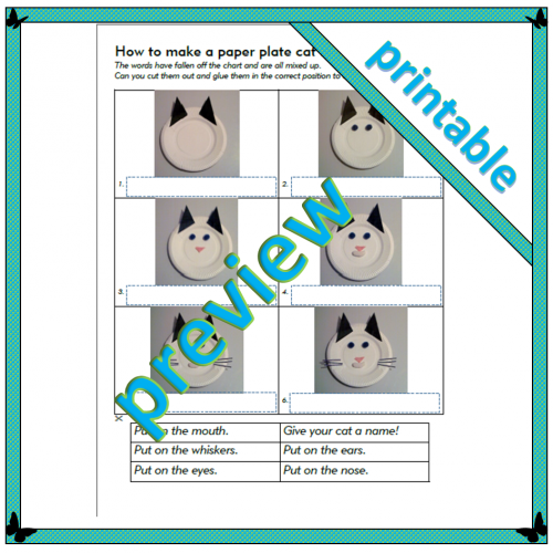 How to make a paper plate cat face – Level 1 – Sequencing