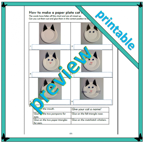 How to make a paper plate cat face – Level 2 – Sequencing