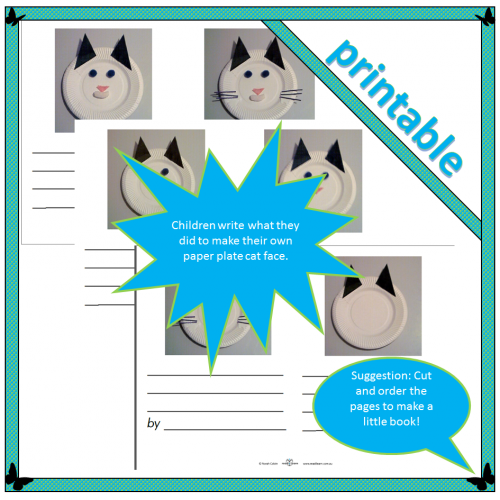 How to make a paper plate cat face – Writing activity
