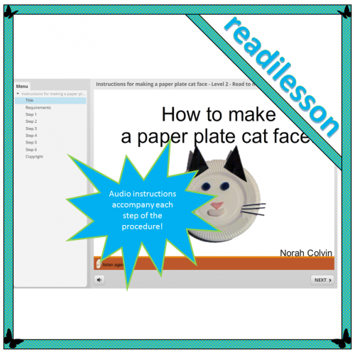 Instructions for making a paper plate cat face – Level 2 – Read to me