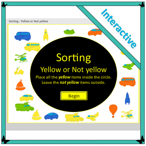 interactive sorting activity - yellow or not yellow