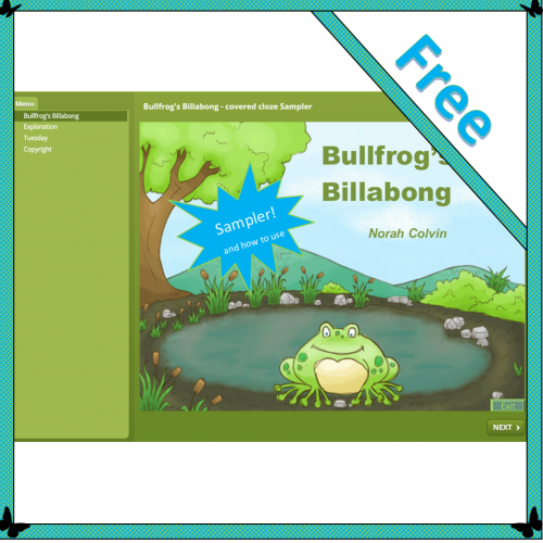 Bullfrog's Billabong – Covered cloze Sampler