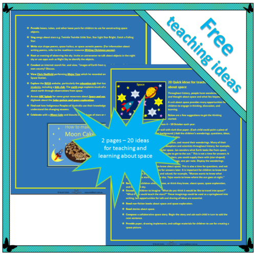 20 Quick ideas for teaching and learning about space
