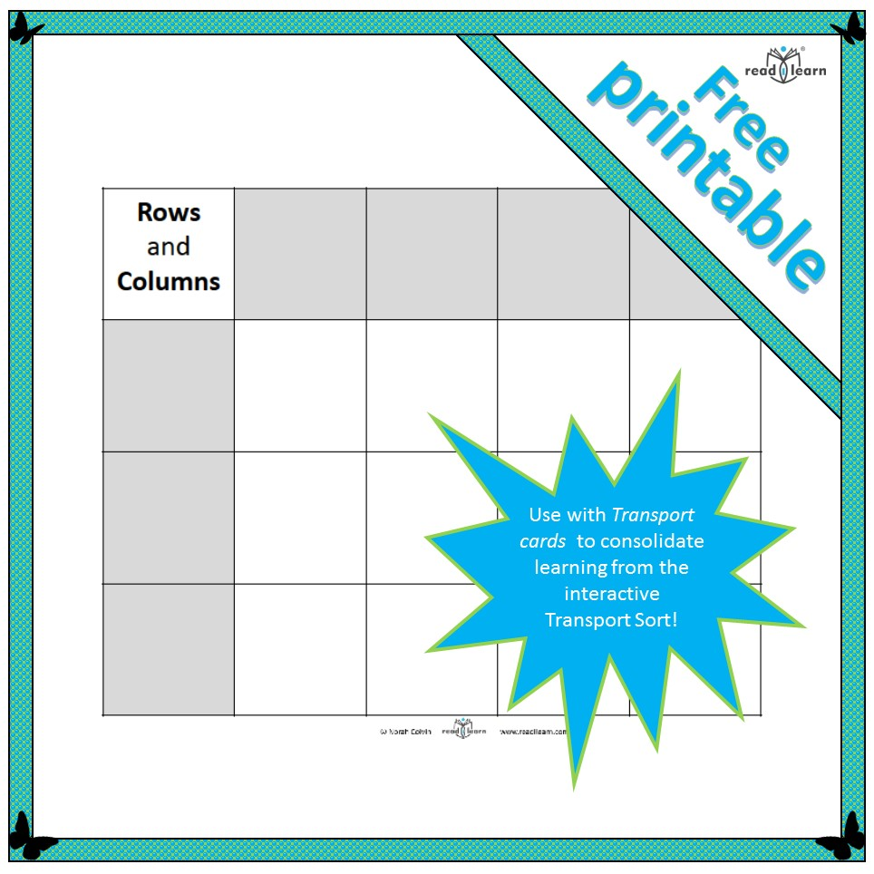 photo about Printable Columns and Rows named Rows and Columns - Sorting grid - Readilearn