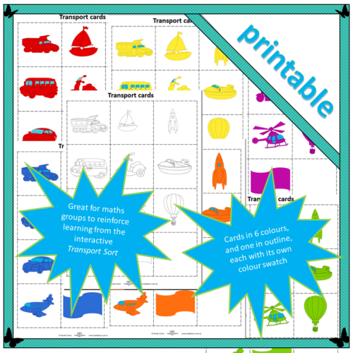 printable cards for sorting vehicles according to type and colour: Transport cards