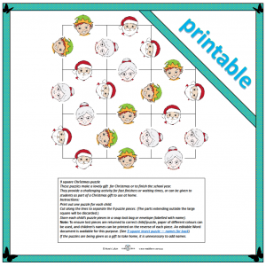 9 square Christmas puzzle