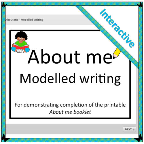 About me – Modelled writing