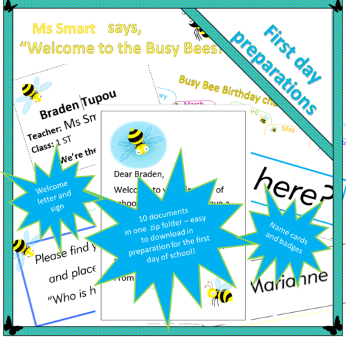 Busy Bee – Welcome resources for Day one