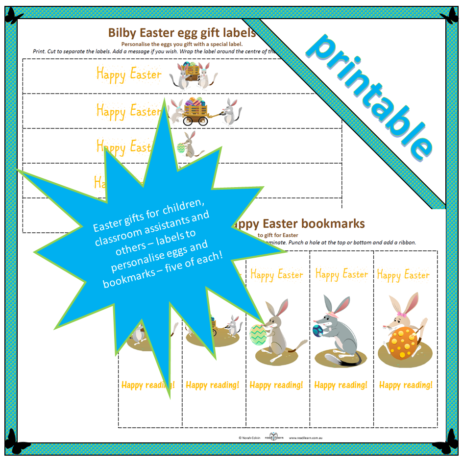 Bilby easter gift labels and bookmarks readilearn bilby easter egg labels and bookmarks negle