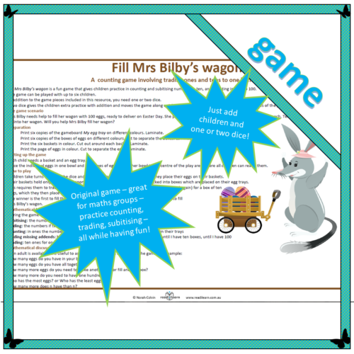 Fill Mrs Bilby's wagon – a game for maths groups