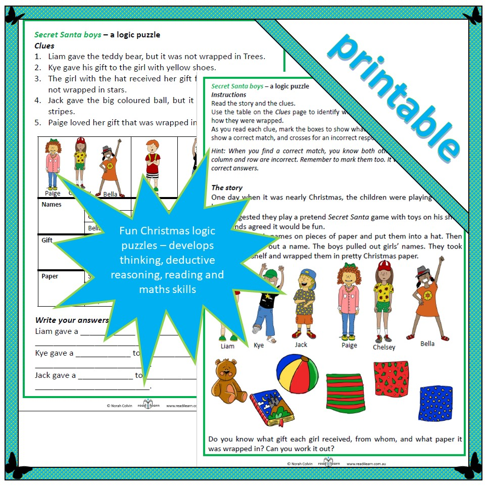 logic puzzles christmas lower primary - Christmas Logic Puzzles