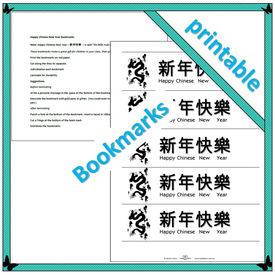 happy chinese new year bookmarks readilearn