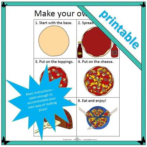 pizza instructions for lower primary cross-curricular pizza-themed teaching resources