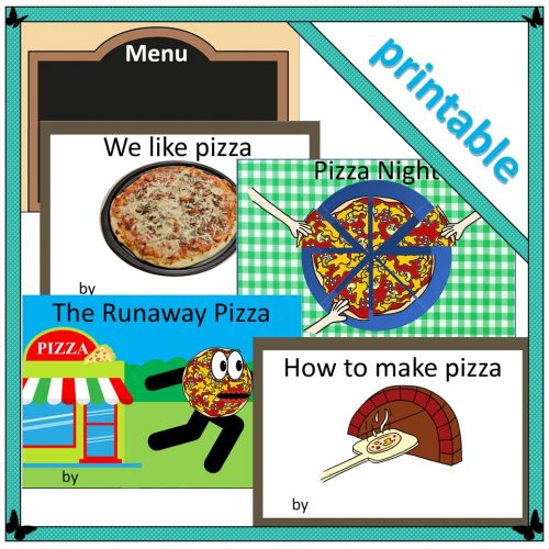 Pizza-themed book covers for children's writing