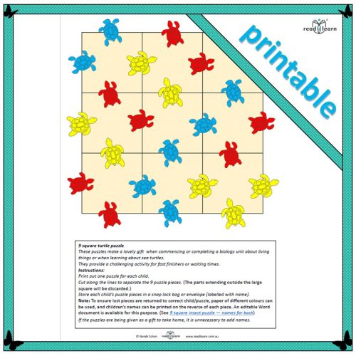printable 9 square turtle puzzle