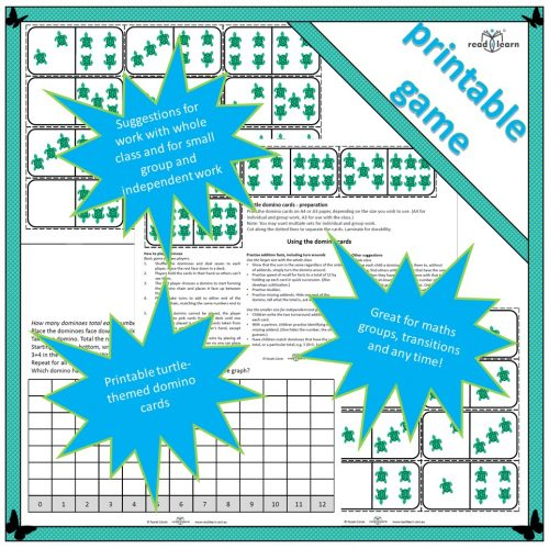 turtle domino cards to print and use in maths groups