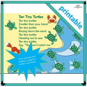Ten Tiny Turtles is a rhyming poem to support a turtle-themed unit of work