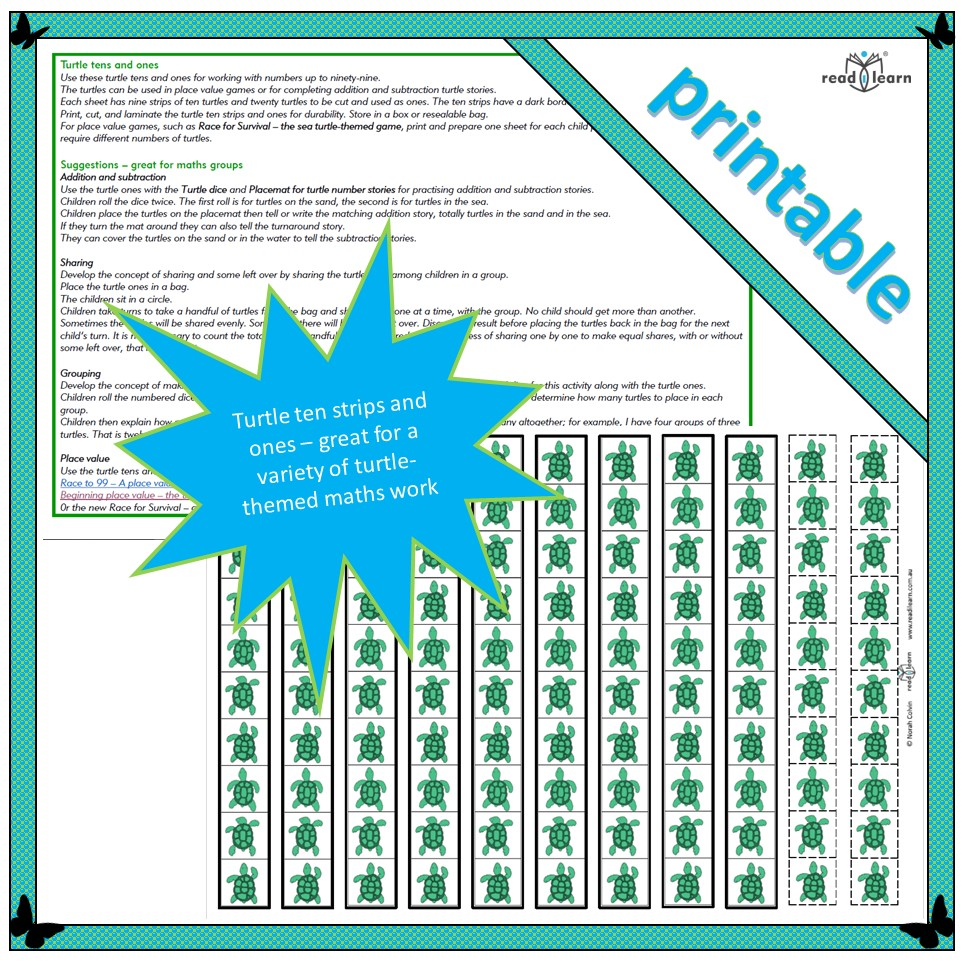 photo relating to Place Value Strips Printable referred to as Turtle tens and kinds