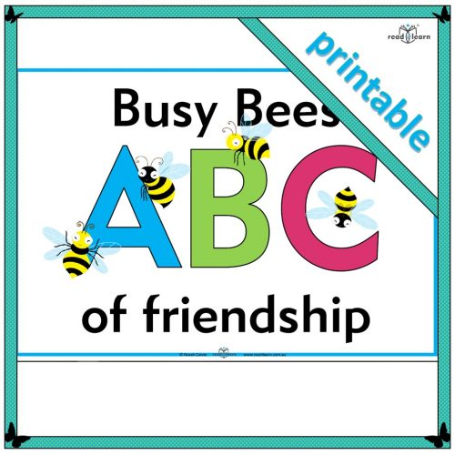 an alphabet of friendship words to use when teaching friendship skills in early childhood classroom