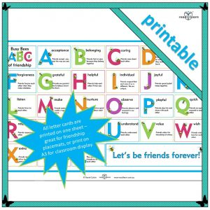 an alphabet of friendship words to use when teaching friendship skills in an early childhood classroom