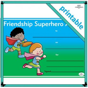 a printable award to give to children who show admirable friendship skills