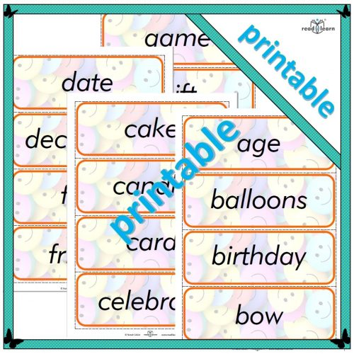 Birthday topic word cards