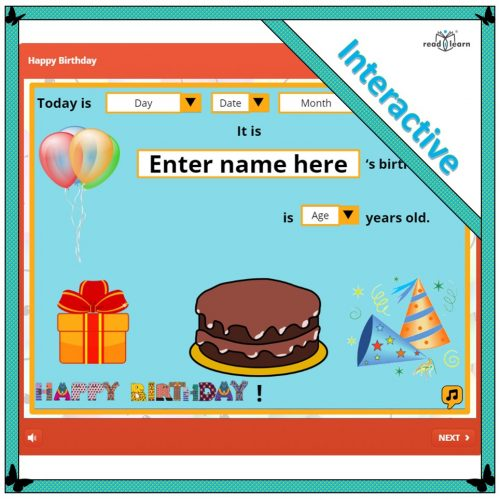 Happy Birthday – an interactive resource to personalise