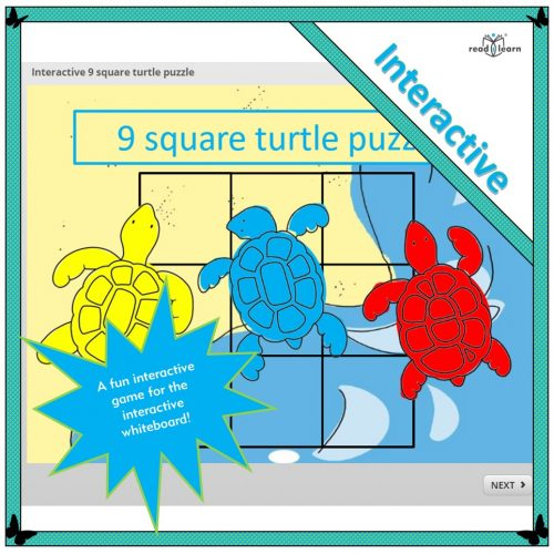 interactive 9 square turtle-themed puzzle for the interactive whiteboard