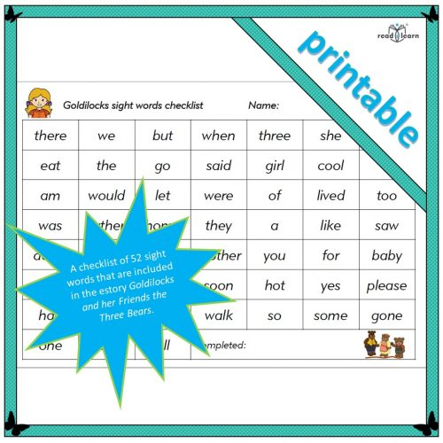 Goldilocks sight words checklist of fifty-two high-frequency words