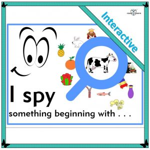 beginning letters and sounds, an I spy game for the interactive whiteboard