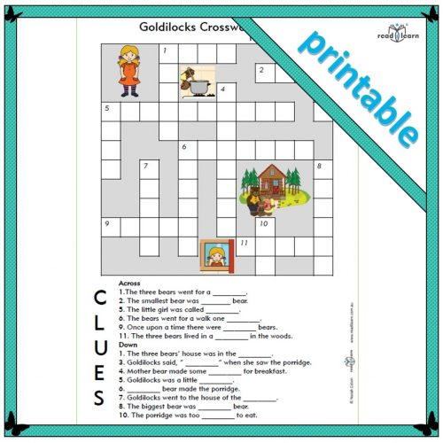 Goldilocks crossword puzzle