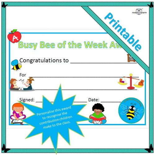 Busy Bee of the Week Award Certificate printable