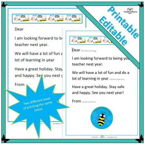 Letters to new children at end of year