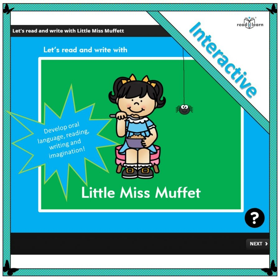 Little Miss Muffet themed lessons for reading and writing