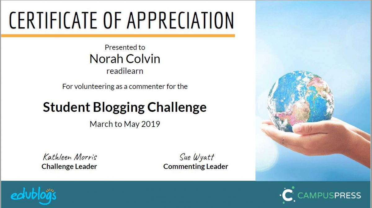 Certificate - Student Blogging Challenge March - May 2019
