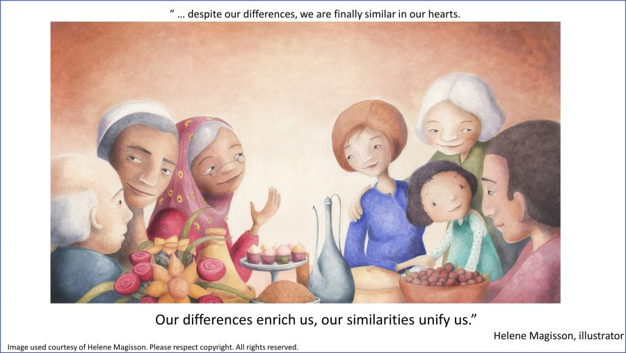 Sarah's Two Nativities illustrated by Helene Magisson - differences and similarities