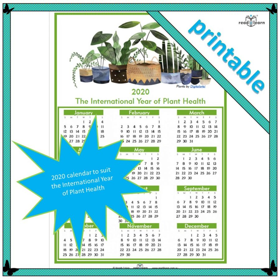 2020 International Year of Plant Health calendar