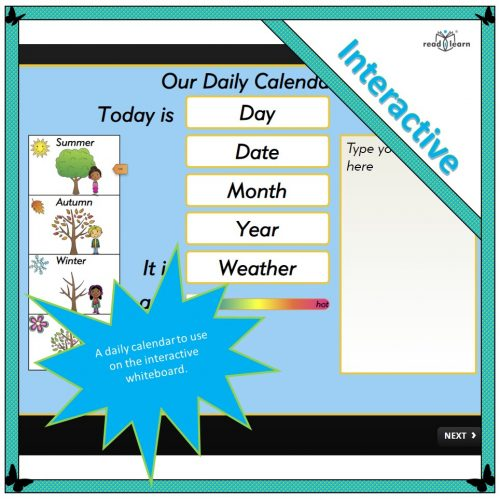Classroom Daily Calendar for the interactive whiteboard