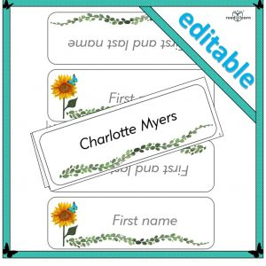 Sunflower desk name template
