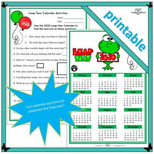 Leap Year Calendar Activities