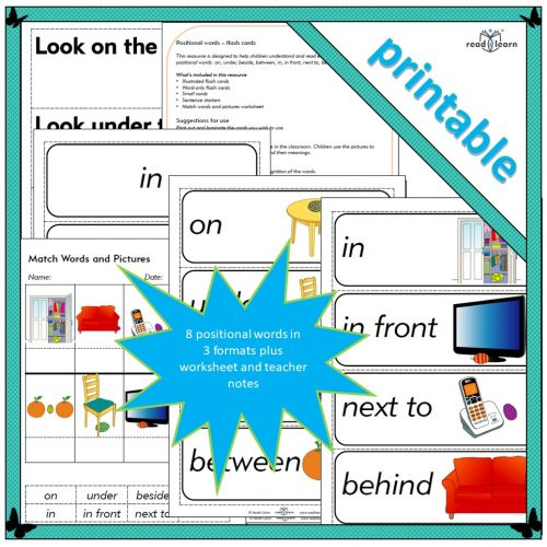 Positional words – flash cards